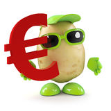 3d Potato man has Euro currency symbol. 3d render of a potato character holding a Euro currency symbol Stock Photography
