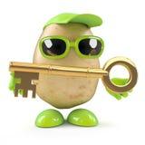 3d Potato man has a gold key. 3d render of a potato character holding a gold key royalty free illustration