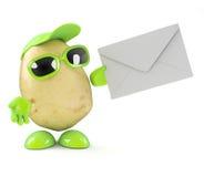 3d Potato man has mail. 3d render of a potato character holding an envelope stock illustration