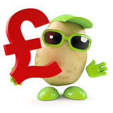 3d Potato man has UK Pounds Sterling. 3d render of a potato character holding a UK Pounds Sterling symbol stock illustration