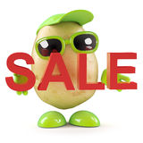 3d Potato man holds a Sale. 3d render of a potato character holding the word SALE stock illustration