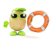 3d Potato man offers help. 3d render of a potato character holding a life ring stock illustration