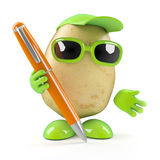 3d Potato man offers his pen. 3d render of a potato character holding a pen royalty free illustration