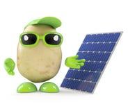 3d Potato man with a solar panel Stock Photo
