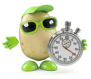 3d Potato man with a stopwatch. 3d render of a potato character holding a stopwatch vector illustration