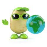 3d Potato man studies a globe of the Earth Stock Photos