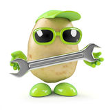 3d Potato mechanic with spanner. 3d render of a potato holding a spanner royalty free illustration