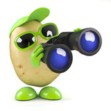 3d Potato observes. 3d render of a potato with a pair of binoculars stock illustration
