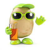 3d Potato at a party. 3d render of a potato with drink in hand royalty free illustration