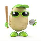 3d Potato plays baseball. 3d render of a potato holding a baseball bat and ball Royalty Free Stock Image