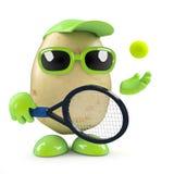 3d Potato serves. 3d render of a potato playing tennis stock illustration