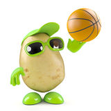 3d Potato shoots the basketball Stock Image
