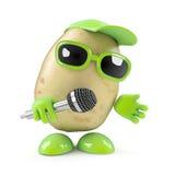 3d Potato sings the blues. 3d render of a potato singing into a mic Stock Photo
