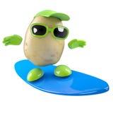 3d Potato surfer. 3d render of a potato surfing stock illustration