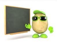 3d Potato teacher. 3d render of a potato teaching at the blackboard royalty free illustration