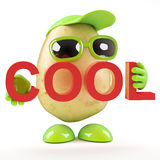 3d Potato thinks he's cool. 3d render of a potato character holding the word Cool royalty free illustration