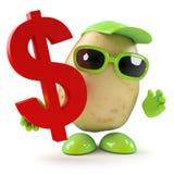 3d Potato with US Dollar symbol. 3d render of a potato holding a US Dollar symbol Stock Image
