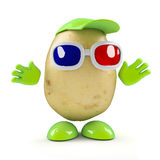 3d Potato watches a 3d movie. 3d render of a potato character wearing 3d glasses Stock Images