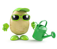 3d Potato waters the garden. 3d render of a potato with a watering can vector illustration