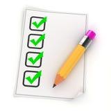 3d potlood en controlelijst Stock Afbeeldingen