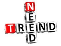 3D Potrzebują trendu Crossword sześcianu słowa Fotografia Royalty Free