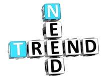 3D Potrzebują trendu Crossword sześcianu słowa Obraz Stock