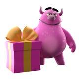 3D potwór z teraźniejszością - humorystyczny charakter royalty ilustracja
