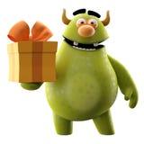 3D potwór z teraźniejszością - humorystyczny charakter ilustracji