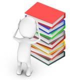 3d povos brancos, ambas as mãos na cabeça, dor de cabeça, preocupação, carga - estando próximo a uma pilha dos livros ilustração royalty free