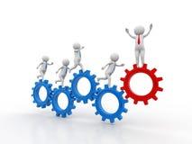 3d povos - homem, pessoa que corre nas rodas de engrenagem Mecanismo do homem de negócios e de engrenagem, Team Work Concept ilustração do vetor