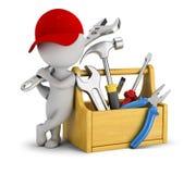 3d povos pequenos - reparador perto da caixa de ferramentas ilustração royalty free