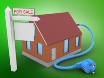 3d power cable. 3d illustration of bricks house over green background with power cable and sale sign Royalty Free Stock Images