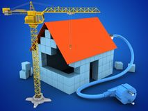 3d power cable. 3d illustration of block house over blue background with power cable and crane Stock Photos