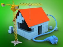 3d power cable. 3d illustration of block house over green background with power cable and crane Stock Photos