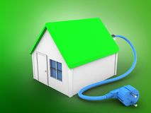 3d power cable. 3d illustration of simple house over green background with power cable Royalty Free Stock Images