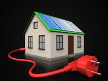 3d power cable over black. 3d illustration of home with solar panel with power cable over black background Stock Images
