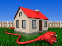 3d power cable over lawn and fence. 3d illustration of house with power cable over lawn and fence background Stock Image