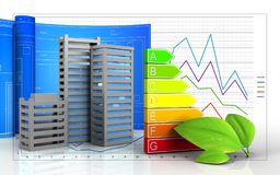 3d of power ranks. 3d illustration of city buildings construction with drawing roll over business graph background Stock Image
