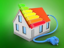 3d power ranks. 3d illustration of house red roof over green background with power ranks Stock Image