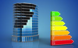 3d of power rating. 3d illustration of office building construction over blue background Stock Photo