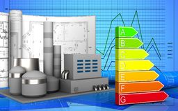 3d of power rating. 3d illustration of factory with drawings over graph background Royalty Free Stock Photography