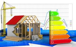 3d of power rating. 3d illustration of frame house with crane over business graph background Royalty Free Stock Images