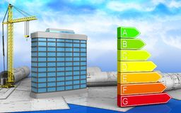 3d of power rating. 3d illustration of generic building with crane over sky background Stock Photography