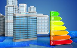 3d of power rating. 3d illustration of generic building with urban scene over blue background Stock Images