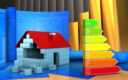 3d of power rating. 3d illustration of house blocks construction with drawing roll over golden charts background Stock Image
