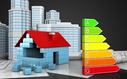 3d of power rating. 3d illustration of house blocks construction with urban scene over black background Stock Image