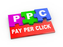 3d ppc puzzle piece illustration. 3d rendering of puzzle pieces presentation of ppc - pay per click Royalty Free Stock Images