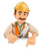 3D pracownik budowlany wskazuje puszek z kielnią Pusta przestrzeń royalty ilustracja