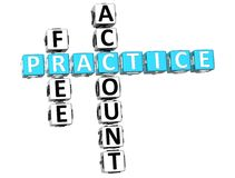 3D Practice Free Account Crossword Stock Image