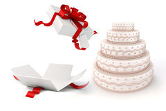 3d present box and delicious cake. On white background Stock Photography